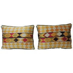 "Pair of Indian 19th Century ""Phulkari"" Artisanal Decorative Bolster Pillow"