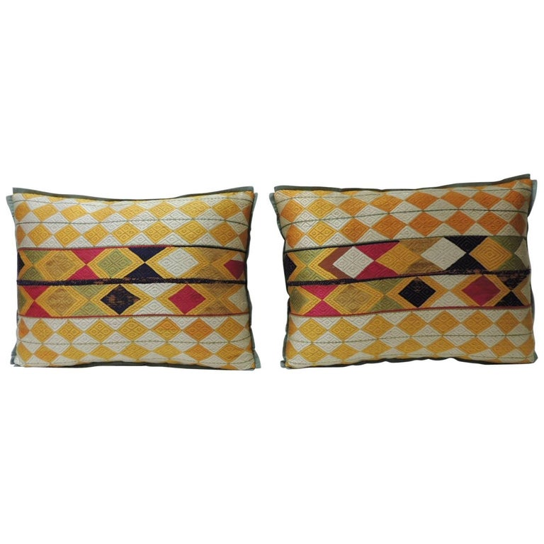 "Pair of Indian 19th Century ""Phulkari"" Artisanal Decorative Bolster Pillow For Sale"