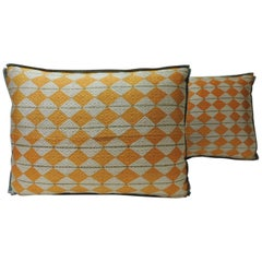 "Pair of Indian 19th Century ""Phulkari"" Artisanal Decorative Bolster Pillows"
