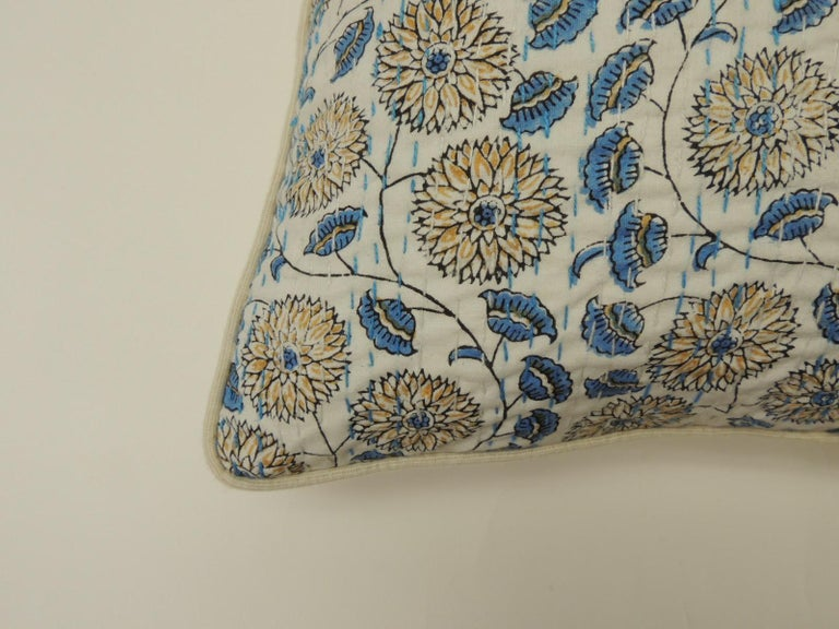 Pair of Indian quilted lotus in blue and yellow decorative pillows. Vintage floral hand quilted Indian pillow in yellow, blue and natural. Natural linen backing and piping. The price on the pillow includes a custom ATG feather/down insert.