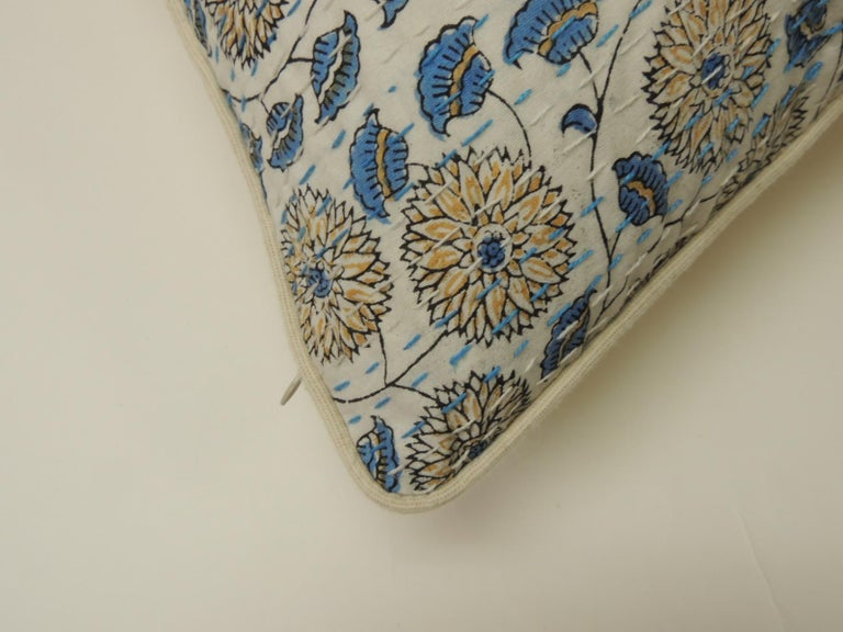 Hand-Carved Pair of Indian Blue and White Quilted