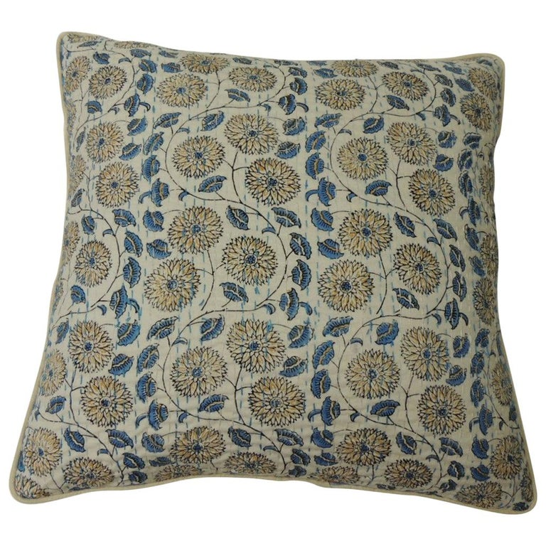 """Pair of Indian Blue and White Quilted """"Lotus"""" Decorative Pillows For Sale"""