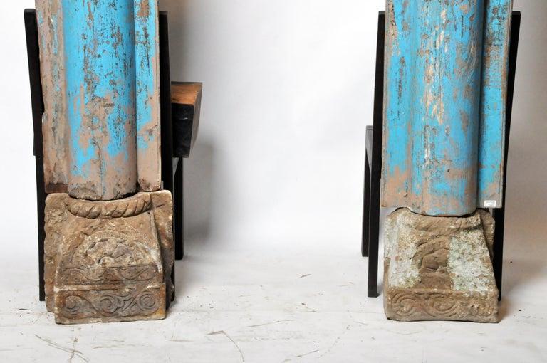 Wood Pair of Indian Columns