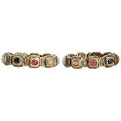 Pair of Indian Gold Navratna Bracelets