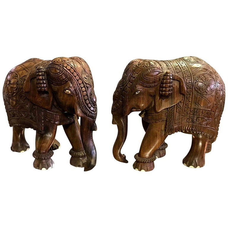 Pair Of Indian Hand Carved Hardwood Elephants With Bone Inlay For Sale At 1stdibs