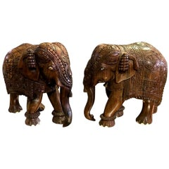 Pair of Indian Hand Carved Hardwood Elephants with Bone Inlay