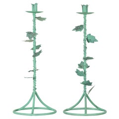 Pair of Indian Vintage Brass Candlesticks with Ivy Motifs and Verde Patina