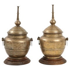 Pair of Indo-Persian Mixed Metal Jars