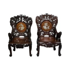 Pair of Indochinese Armchairs, circa 1880-1900