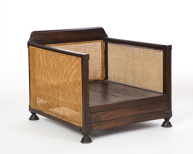 Pair of Indonesian 'Art Deco' Wood and Caned Armchairs, 20th Century For Sale 13