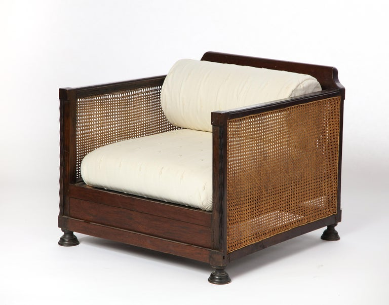 Pair of Indonesian 'Art Deco' Wood and Caned Armchairs, 20th Century In Good Condition For Sale In New York, NY