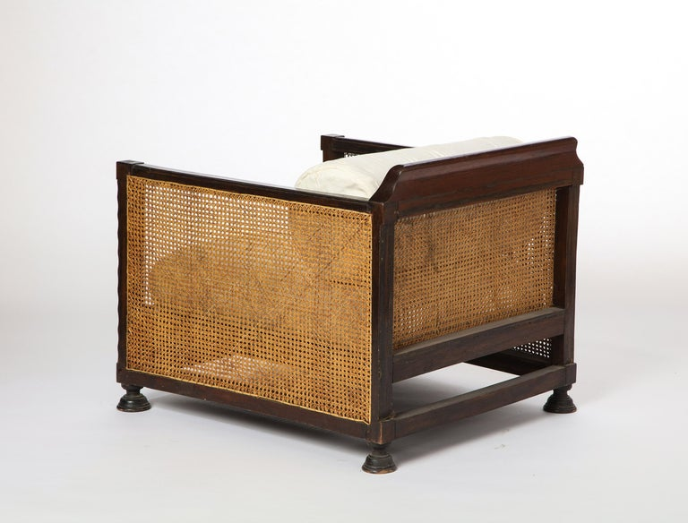 Pair of Indonesian 'Art Deco' Wood and Caned Armchairs, 20th Century For Sale 2