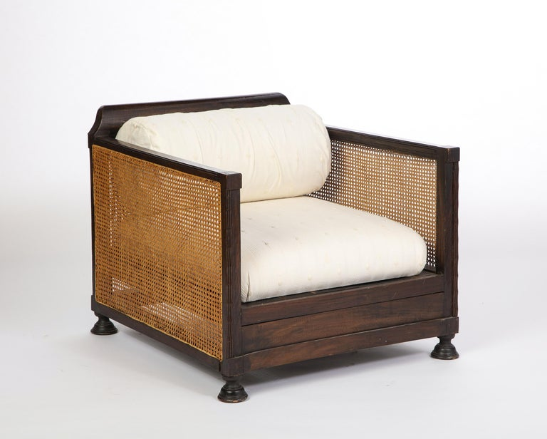 Pair of Indonesian 'Art Deco' Wood and Caned Armchairs, 20th Century For Sale 4