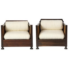 Pair of Indonesian 'Art Deco' Wood and Caned Armchairs, 20th Century
