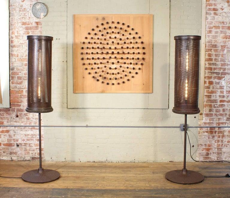 American 6' Industrial Floor Lamps For Sale
