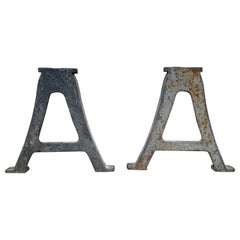 """Pair of Industrial """"A"""" Shaped Antique Iron Table Bases"""