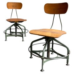 Pair of Industrial Adjustable Toledo Stools