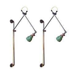 Pair of Industrial Bedside Wall Lamps