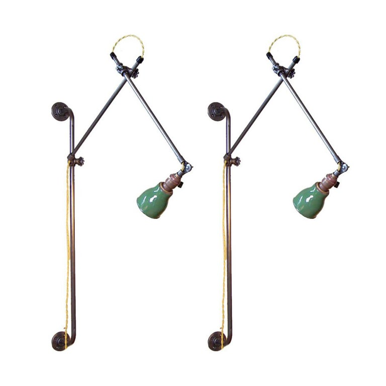 Pair of Industrial Bedside Wall Lamps For Sale