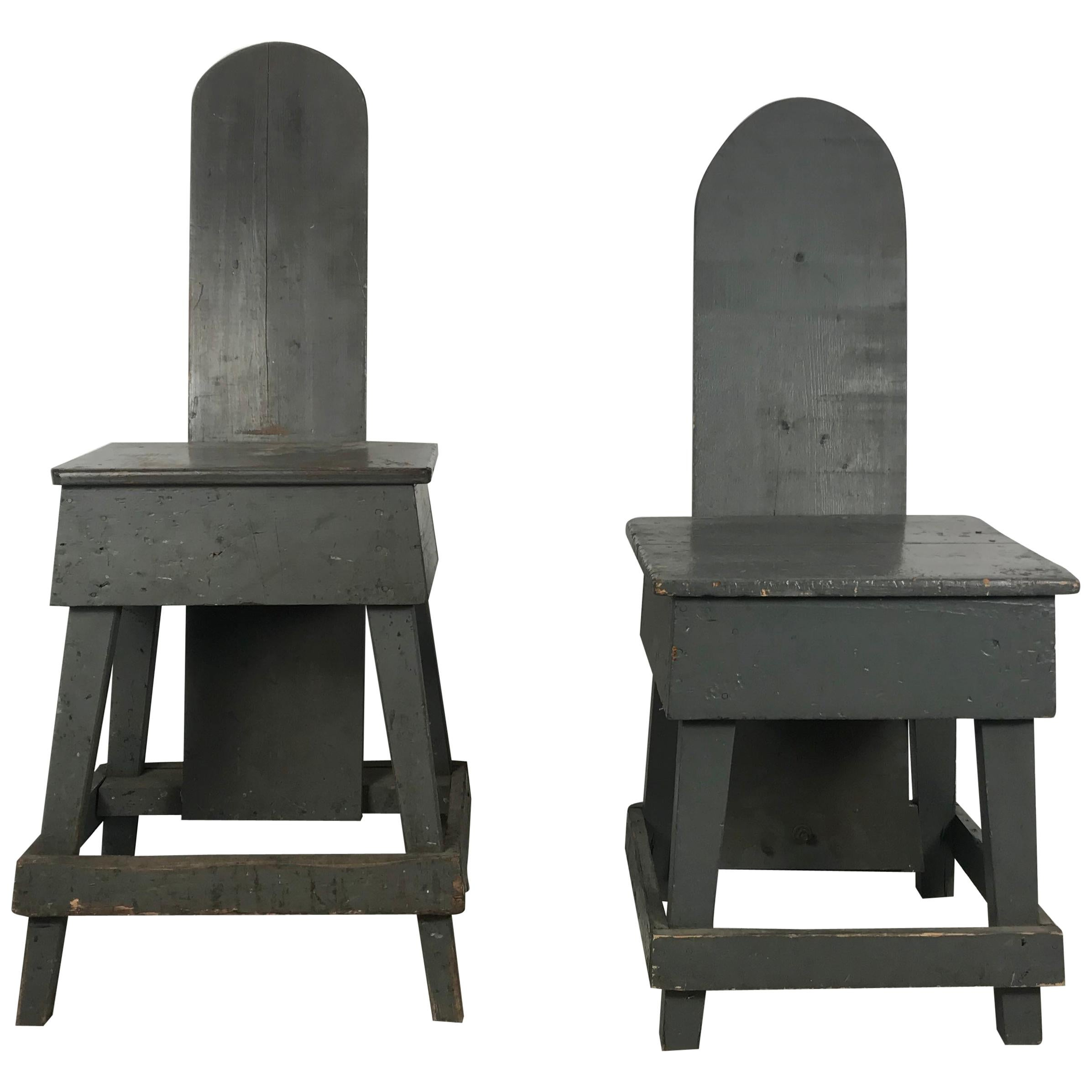 """Pair of Industrial Bench Made """"Westport"""" Style Factory Task Chairs, 1930s"""