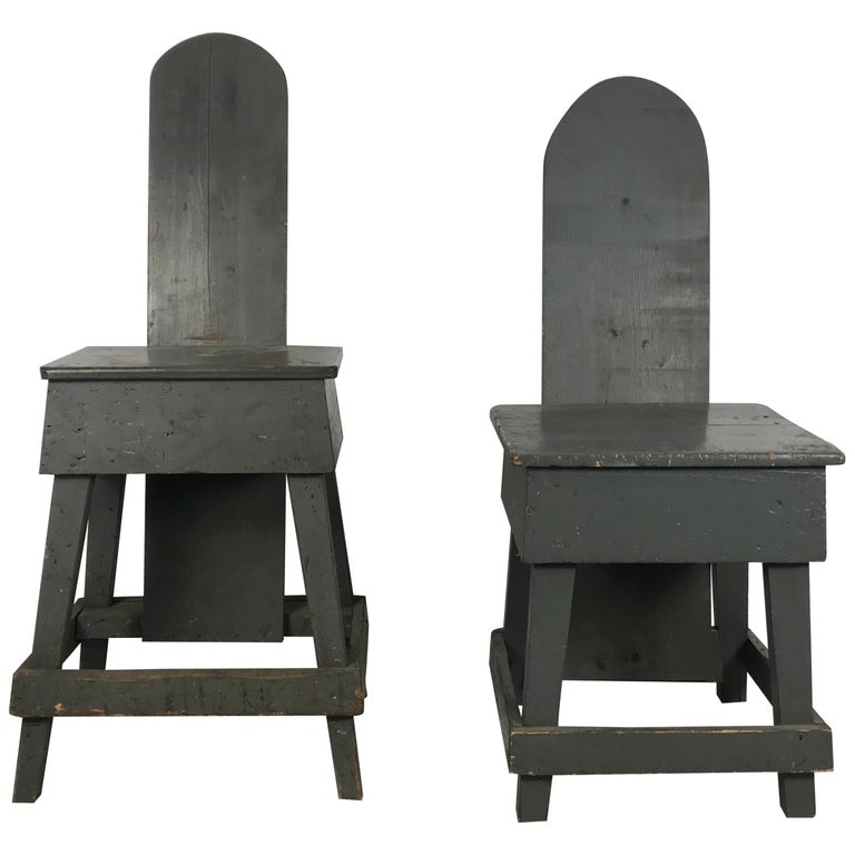 "Pair of Industrial Bench Made ""Westport"" Style Factory Task Chairs, 1930s For Sale"