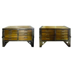 Pair of Industrial Chests of Drawers, Italy, 1930