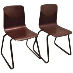 Pair of Industrial Elmar Flötotto for Pagholz Galvanitas Stacking Chairs