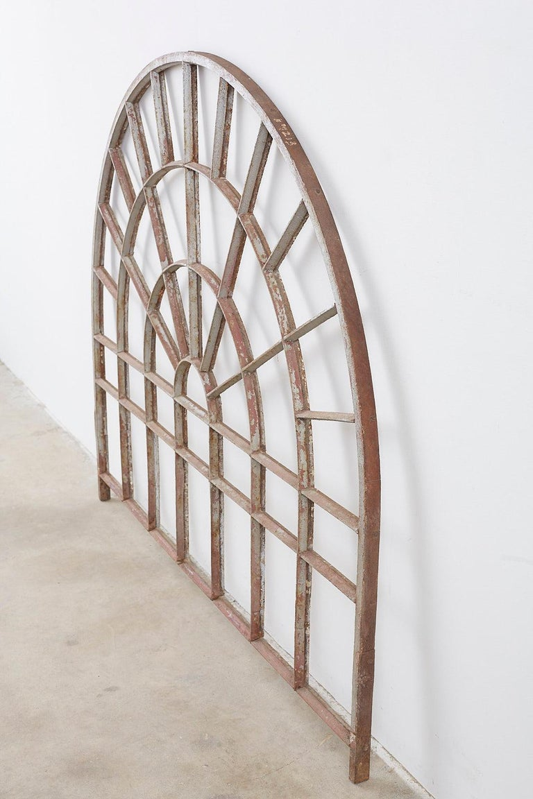 Pair of Industrial Iron Arched Factory Transom Windows For Sale 9