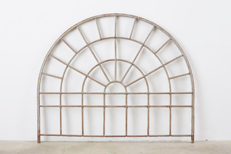 American Pair of Industrial Iron Arched Factory Transom Windows For Sale