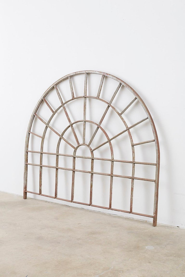Pair of Industrial Iron Arched Factory Transom Windows For Sale 4