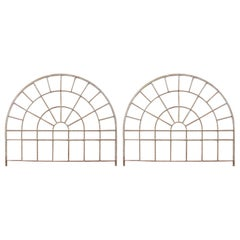Pair of Industrial Iron Arched Factory Transom Windows