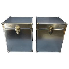 Pair Of Cedar Wood Inserted Boxes For Storage Or Chrome Side Tables