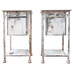 Pair of Industrial Metal and Marble French Bedsides