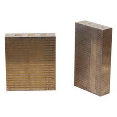 Pair of Industrial Metal Machine Blocks