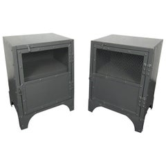 Pair of Industrial Metal Side Tables