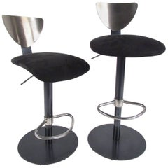 Pair of Industrial Modern Swivel Bar or Counter Stools