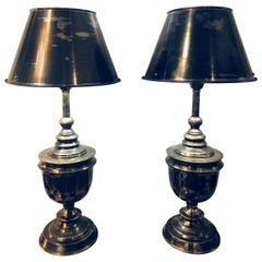 Pair of Industrial Nickel Finish Urn Lamps with Matching Shades