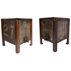 Pair of Industrial Oil Containers, USA, 1920