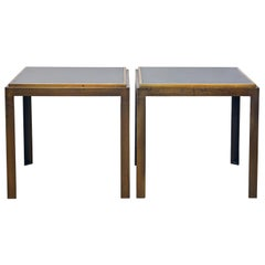 Pair of Industrial Parsons Style Lacquered Steel Minimalist End Tables 20th C