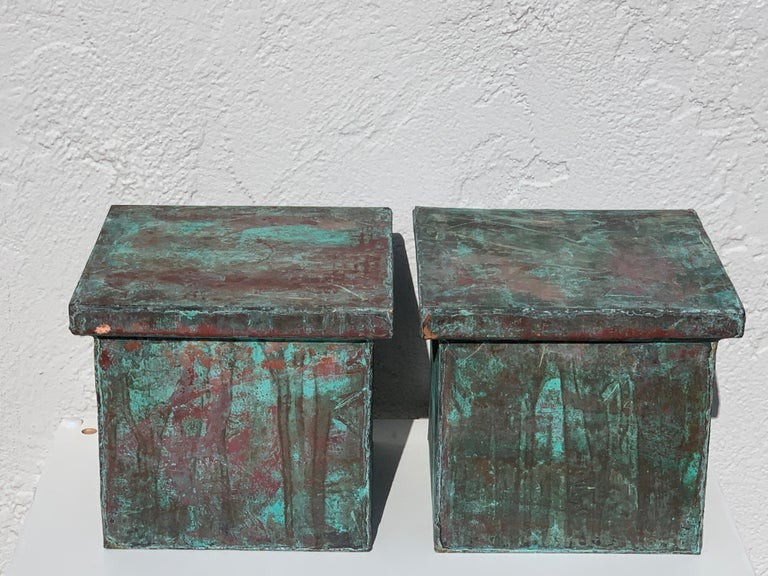 Pair of Industrial Patinated Copper Capitals or Pedestals For Sale 6
