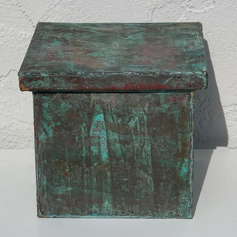 Pair of Industrial Patinated Copper Capitals or Pedestals For Sale 7