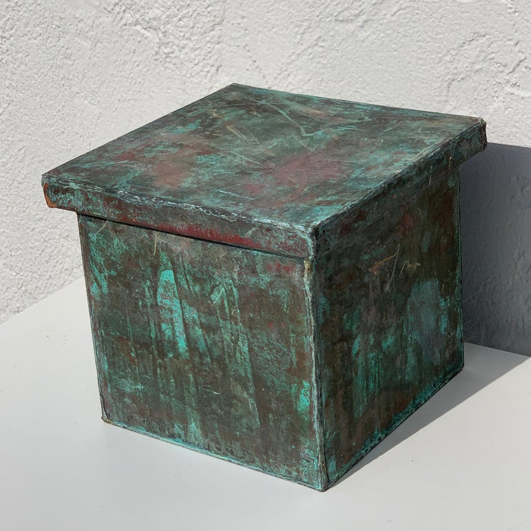 Pair of Industrial Patinated Copper Capitals or Pedestals For Sale 8
