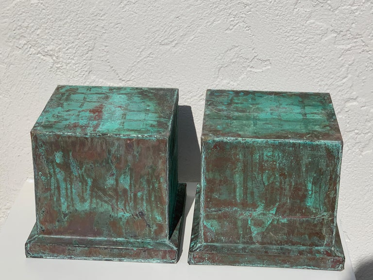 Pair of industrial patinated copper capitals or pedestals, beautiful evenly distressed patina. Can be used indoors or outdoors. Measures: 9