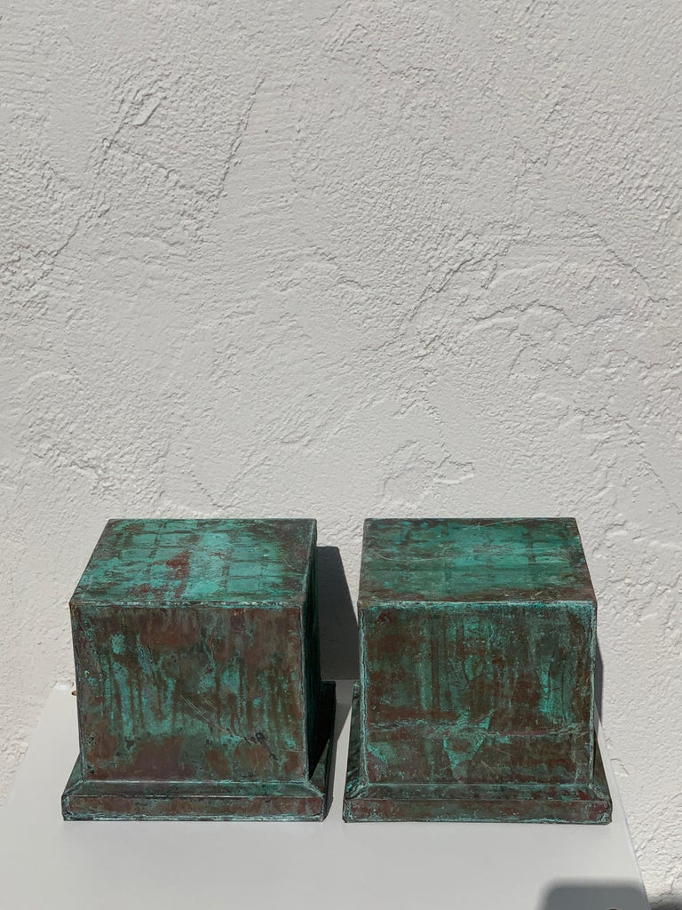 European Pair of Industrial Patinated Copper Capitals or Pedestals For Sale