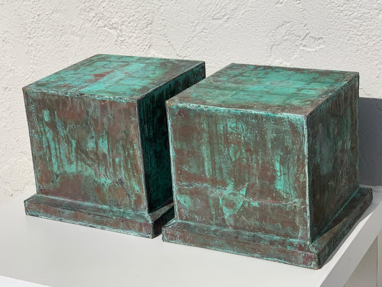 Pair of Industrial Patinated Copper Capitals or Pedestals In Good Condition For Sale In West Palm Beach, FL