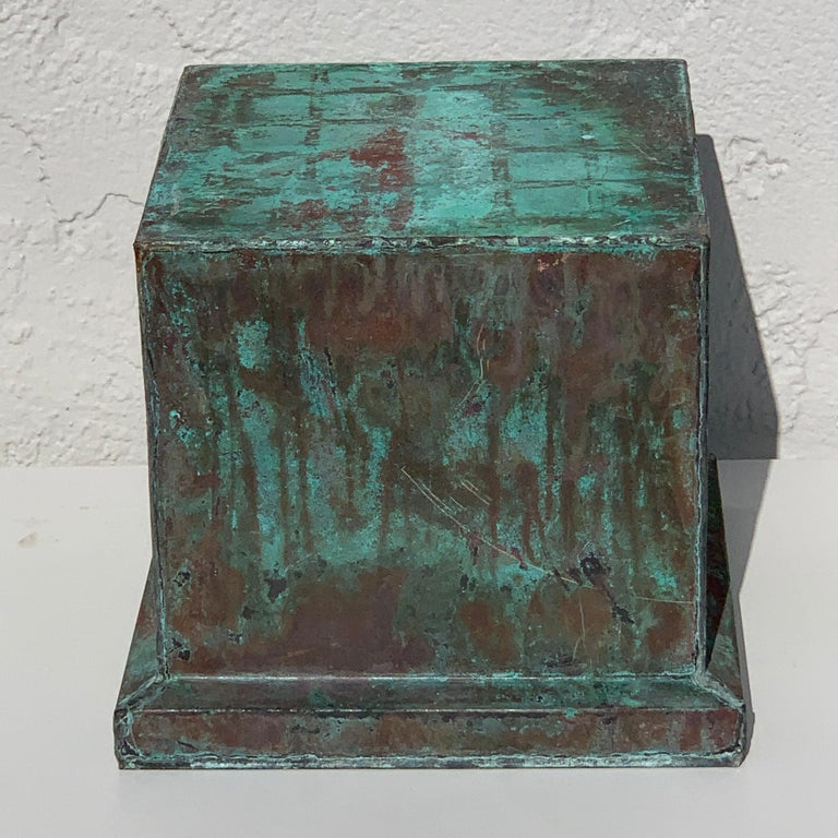20th Century Pair of Industrial Patinated Copper Capitals or Pedestals For Sale