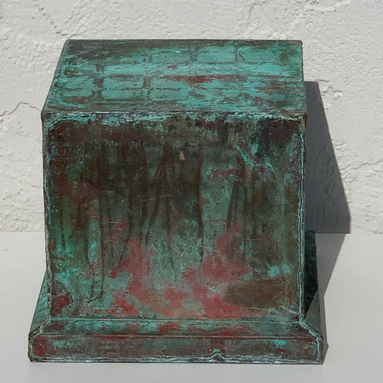 Pair of Industrial Patinated Copper Capitals or Pedestals For Sale 1