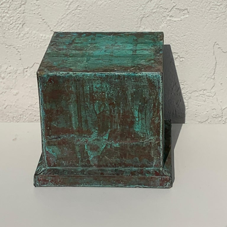 Pair of Industrial Patinated Copper Capitals or Pedestals For Sale 2