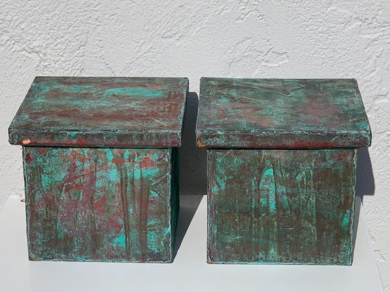 Pair of Industrial Patinated Copper Capitals or Pedestals For Sale 3