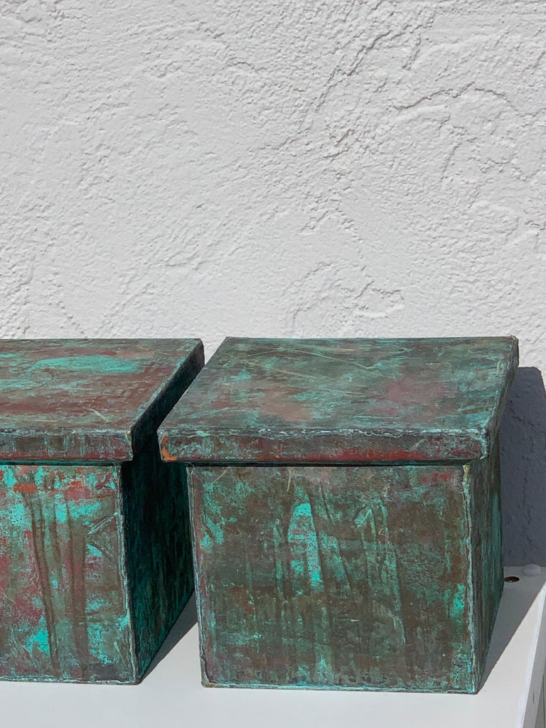 Pair of Industrial Patinated Copper Capitals or Pedestals For Sale 4